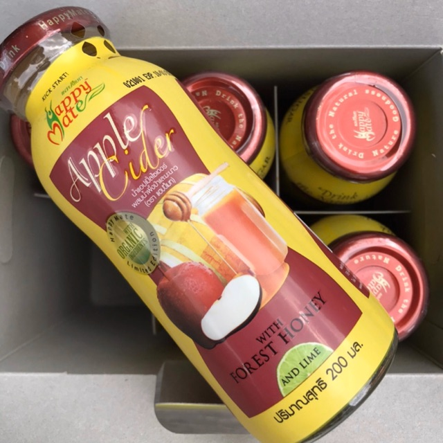 Apple Cider แพค 6 พร้อมดื่ม ผสมน้ำผึ้งป่า ขนาด 200มล Happy mate