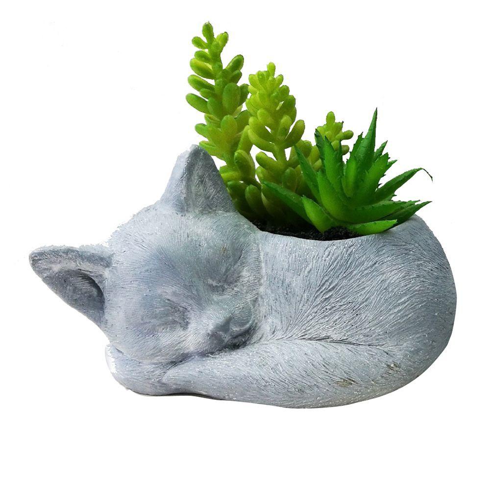 ต้นไม้ประดิษฐ์ ต้นไม้ปลอม ไม้อวบน้ำในกระถางรูปแมว SPRING 01