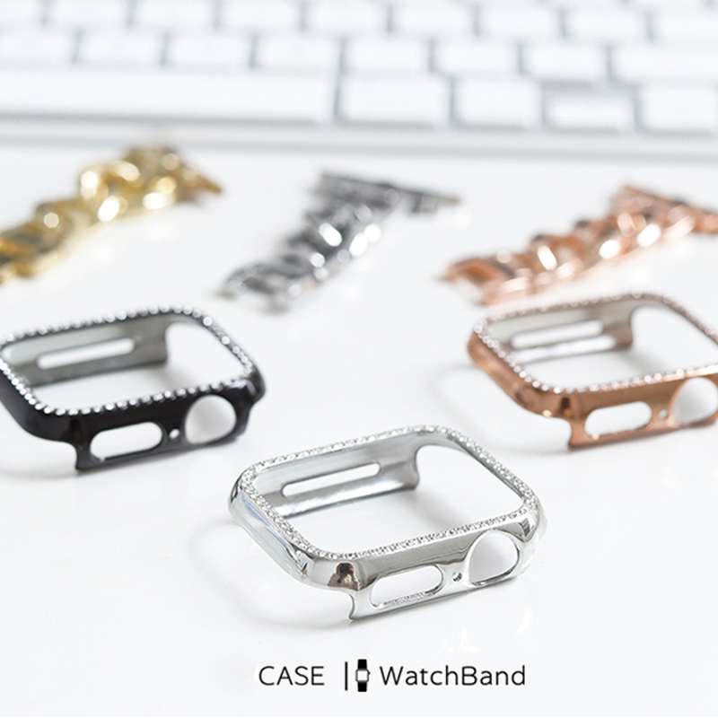 Diamond PC Protective Case Rhinestone Watch Case For Apple Watch Series 6 5 4 3 2 38mm 40mm 42mm 44mm