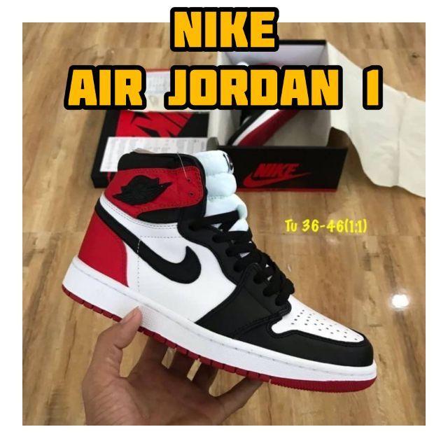 NIKE AIR JORDAN 1 SATIN BLACK TOE PK GOD รองเท้าผ้าใบผู้ชาย รองเท้าผ้าใบผู้หญิง รองเท้า NIKE หุ้มข้อ ของแท้100%ไม่ผ่านQC