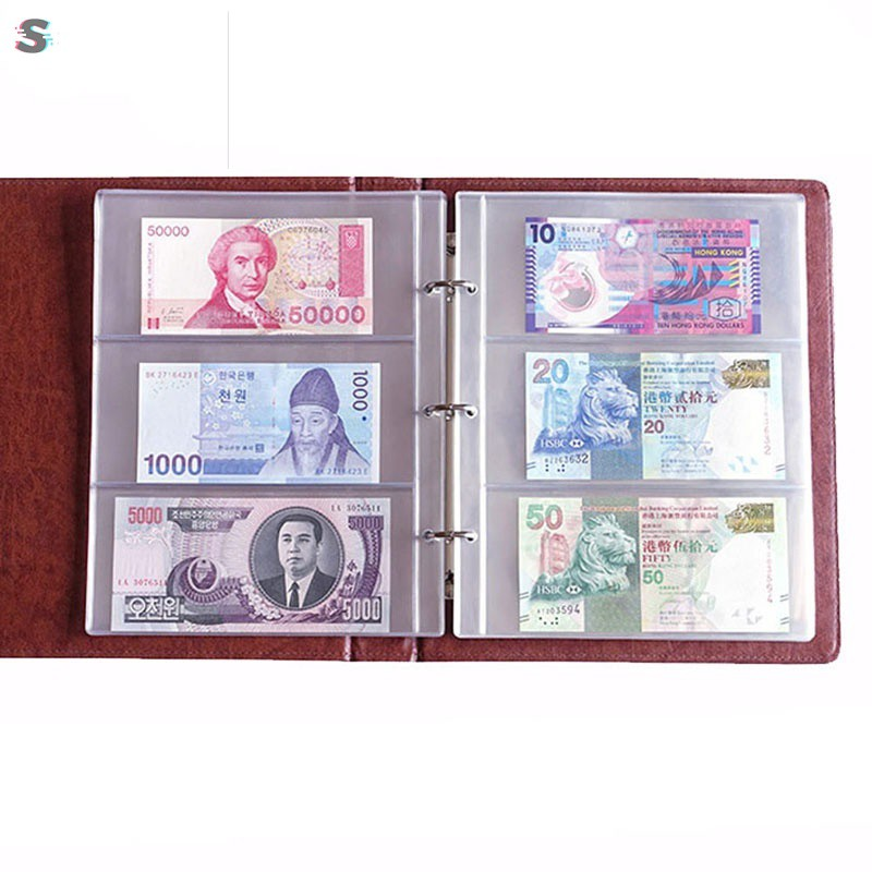 RH❤ 2 Pcs Album Sheet Albumpage Pockets Money Bill Note Currency Holder PVC  Collection Gifts