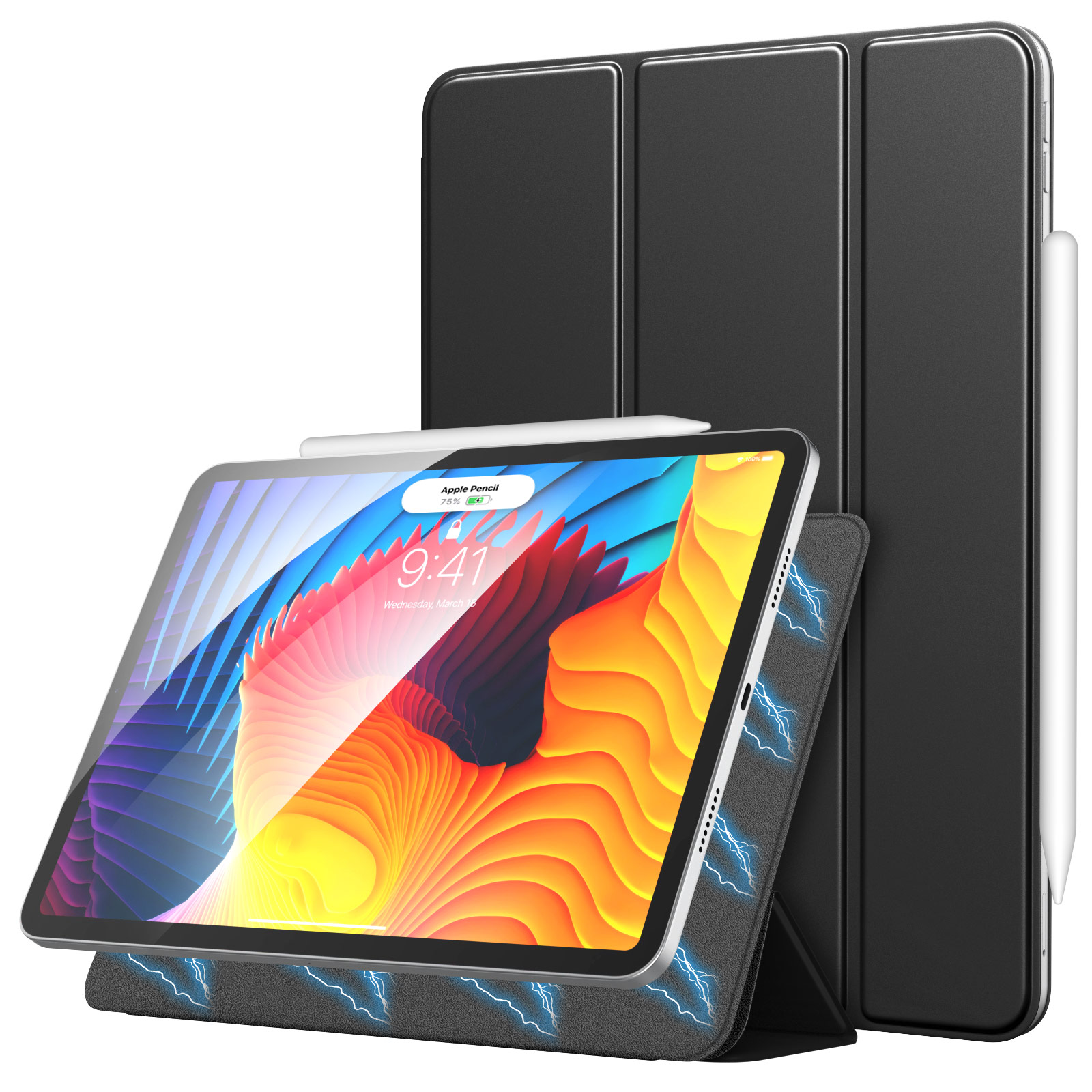 MoKo Magnetic Smart Folio Slim Lightweight Stand Case For New iPad Pro 11 inch 2021(3rd Gen), [Support Apple Pencil 2 Ch