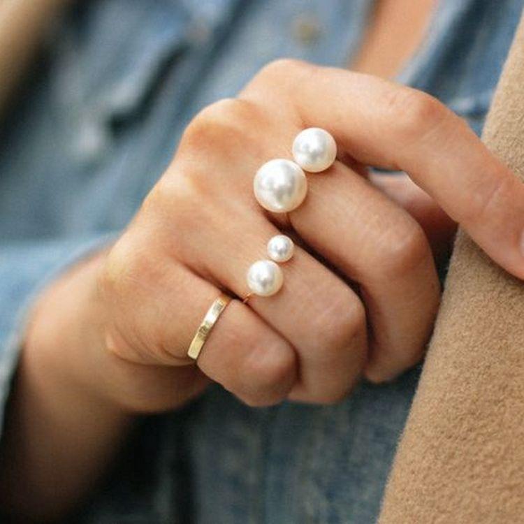 【ราคาส่ง】U Style Pearl Fashion ทองMinimalist แหวน เสื้อผ้าแฟชั่น เครื่องประดับ