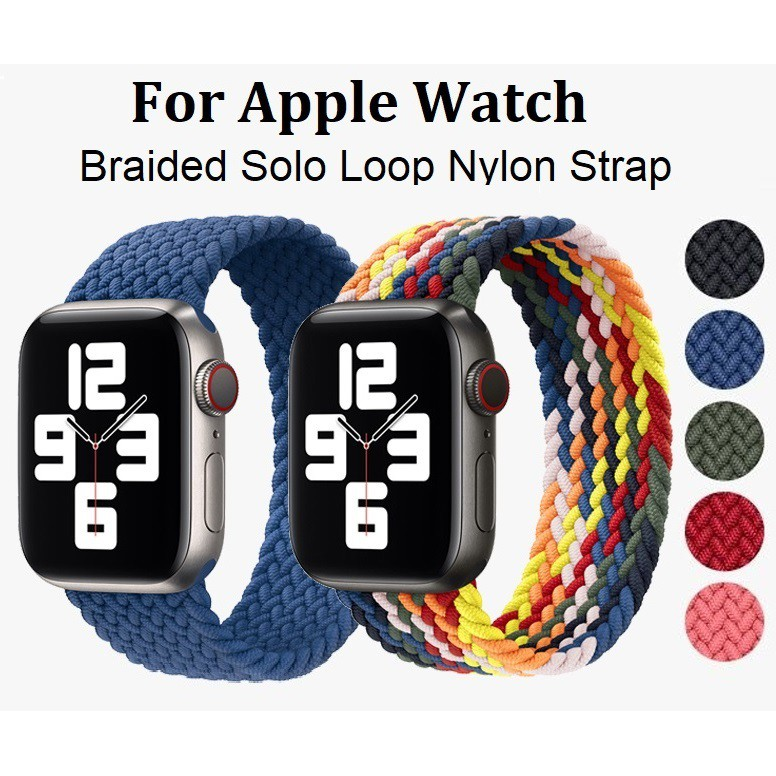 สาย Applewatch Nylon Braided Solo Loop Strap สายนาฬิกา Applewatch Elastic Fabric Bracelet iWatch Series 6/5/4/3/2, Apple Watch SE Replacement Watchband