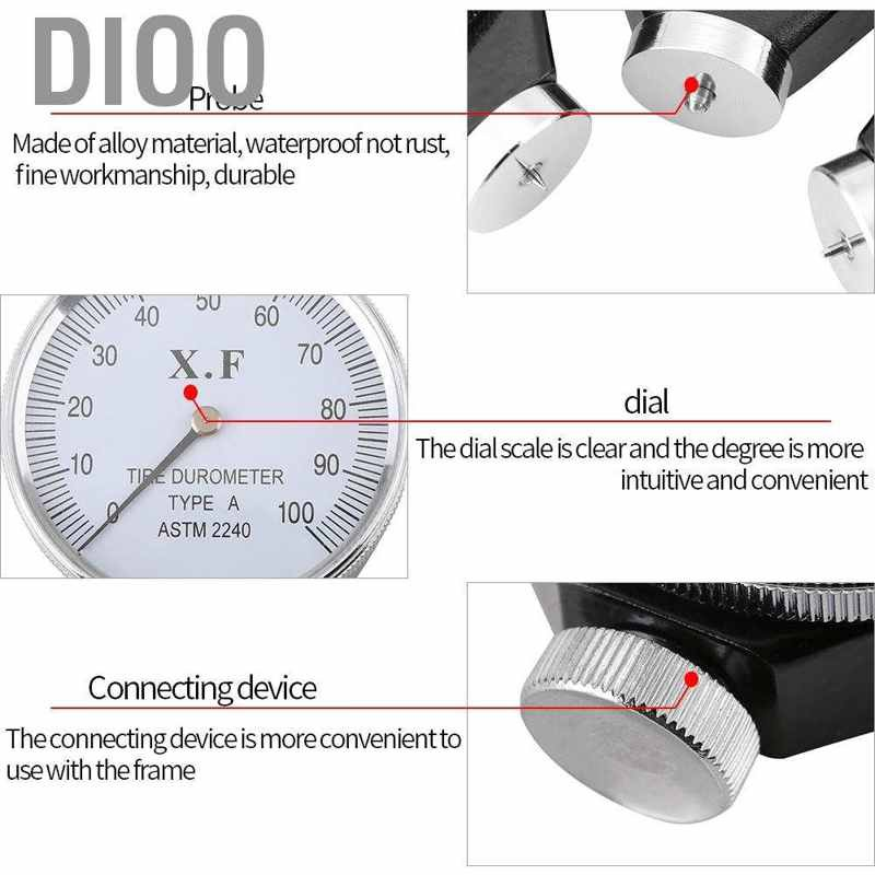 Dioo ดิจิตอล Shore A O D Hardness Durometer 100ha อุปกรณ์ทดสอบยางจอแอลซีดี Hg
