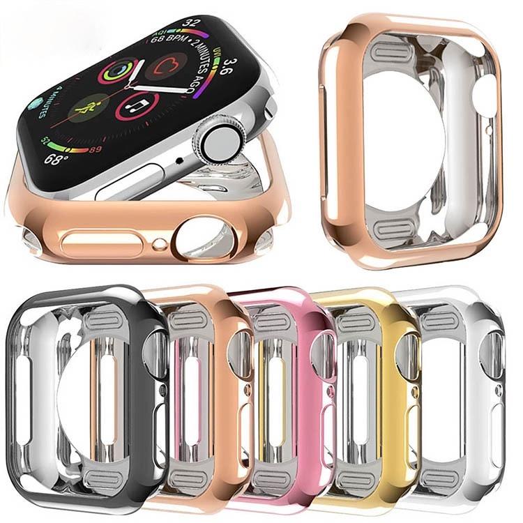 Electroplate Reflection Soft TPU Case สำหรับ Apple Watch ฝาครอบ 38mm 42mm 40mm 44mm iwatch Series SE 6 5 4 3 2 1 กรอบป้องกัน