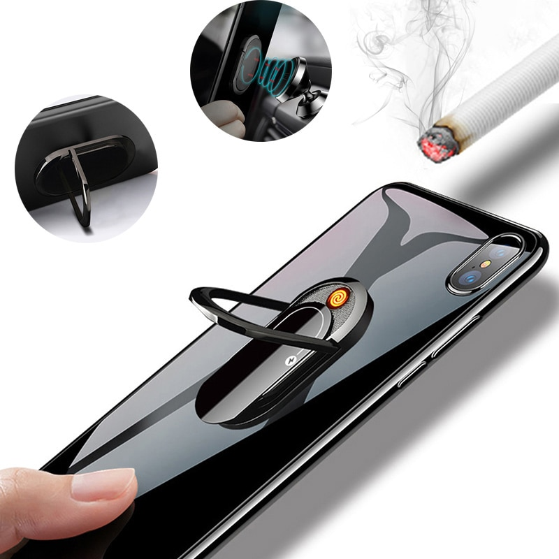 Cigarette Lighter Phone Holder Car Mount Stand Rechargeable Ring Buckle Socket for Iphone Samsung Huawei Can Do Telefonu