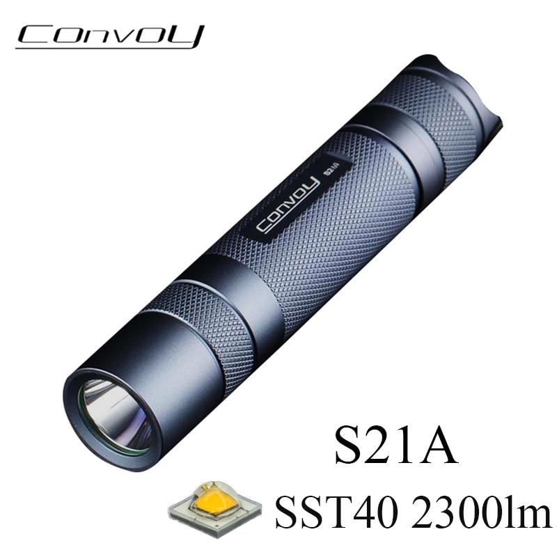 Convoy S21A Flashlight EDC Torch Flash Light SST40 2300lm Linterna LED 21700 18650 Flashlight Lantern Fishing Lamp Work