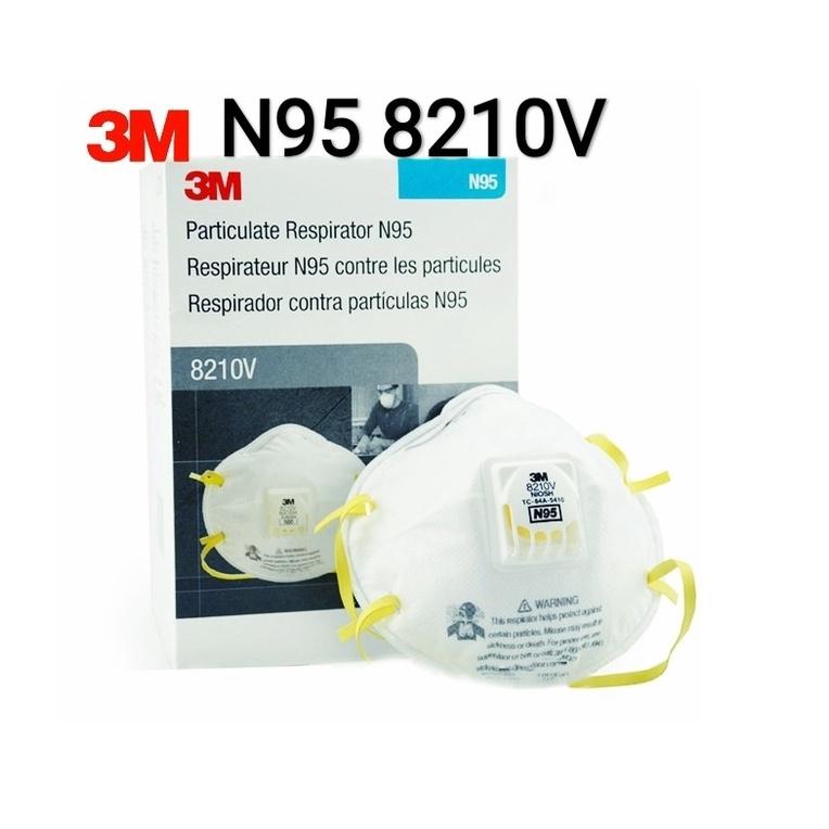 ☌3M 8210V N95 ชนิดมีวาล์ว หน้ากากป้องกันฝุ่น 1กล่อง (มี10ชิ้น) Valved 8210V 8210 เอ็น95