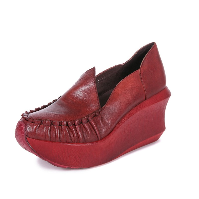 รองเท้าคัชชูส้นเตารีด ลิ่มกับรองเท้าที่เพิ่มขึ้นเดิมรองเท้าแม่รองเท้าเดียวชั้นแรกหนังรองเท้าผู้หญิงลมแห่งชาติรองเท้าเดีย