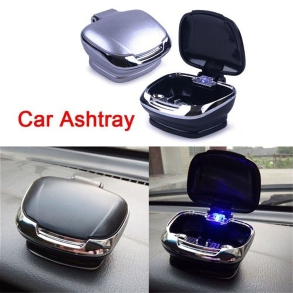 Car Ashtray Auto Cigarette Lighter Ashtray Holder  Smokeless USB Charge Blue LED Light Indicator Car Interior Assessoire
