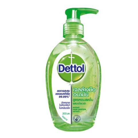 !! พร้อมส่ง !! Dettol เจลล้างมืออนามัยแอลกอฮอล์ 70% สูตรหอมสดชื่นผสมอโลเวล่า ขนาด 200 มล. x 2 ขวด