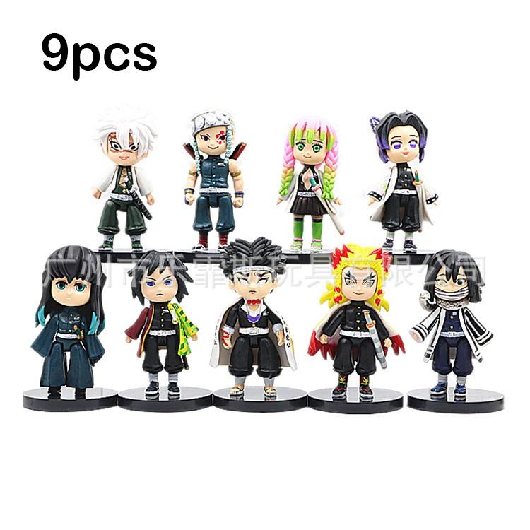9pcs Cute Demon Slayer Action Figure Giyuu Shinobu Kyoujurou Collection Figure Kids Toys Gifts Desktop Ornaments