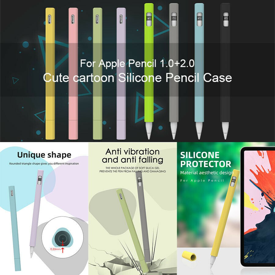 For Apple Pencil 1st/ 2nd Gen Soft Silicone Case Cover Pen Protector Grip Holder