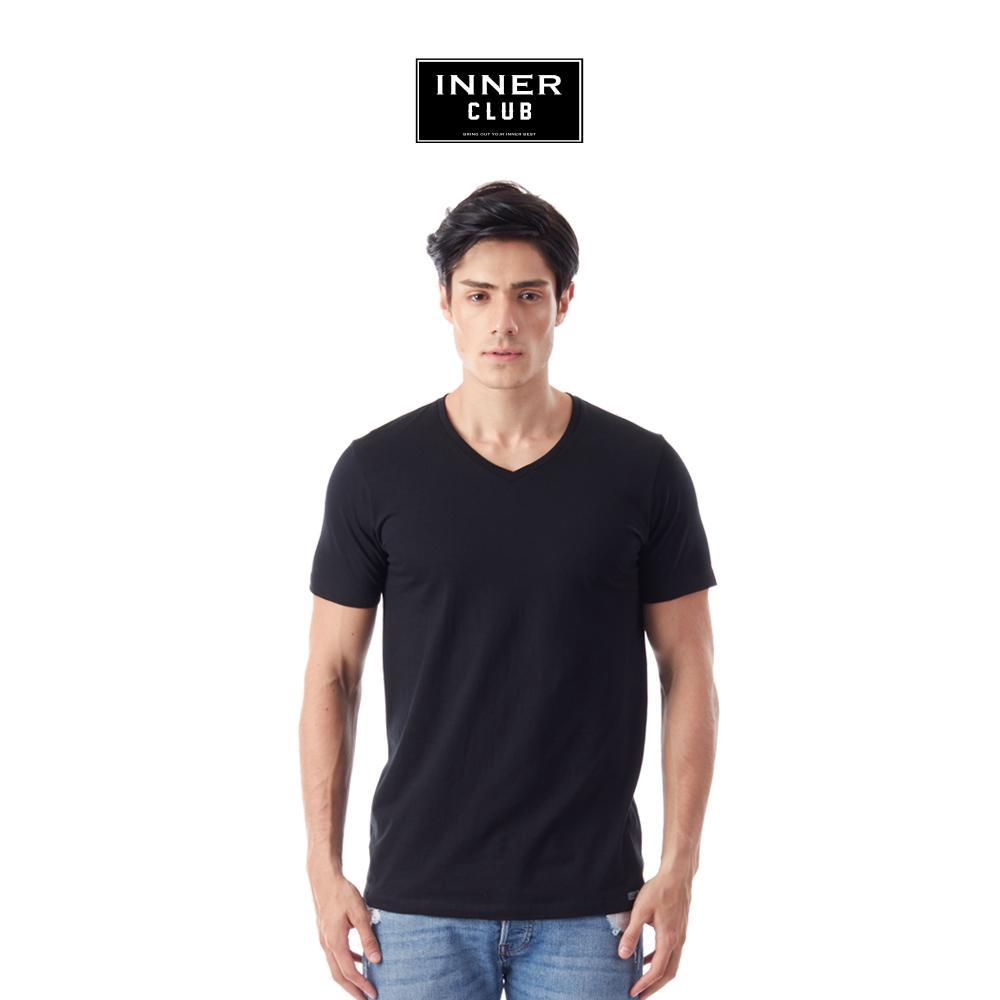 Inner Club เสื้อยืดคอวี ผู้ชาย สีพื้น สีดำ ทุกไซส์