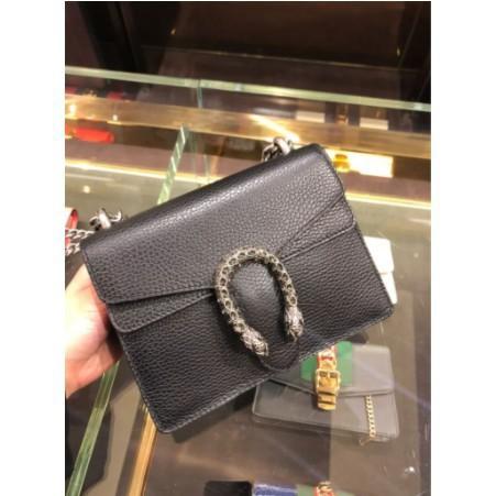 [VO]ของแท้รับซื้อ 421970 Gucci dionysus GG supreme mini leather รุ่น black Bacchus bag 20CM spot