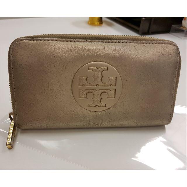 กระเป๋าสตางค์ Tory Burch Zip Wallet Metallic Gold แท้100%
