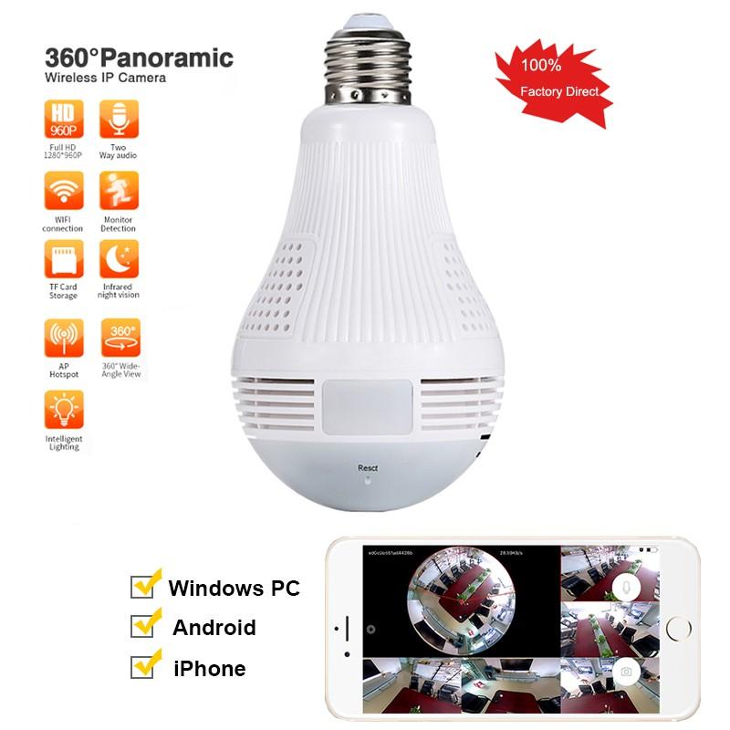 360 Degree 1080P HD WIFI Camera E27 LED Light Bulb Home Security IP Cam Lamp US
