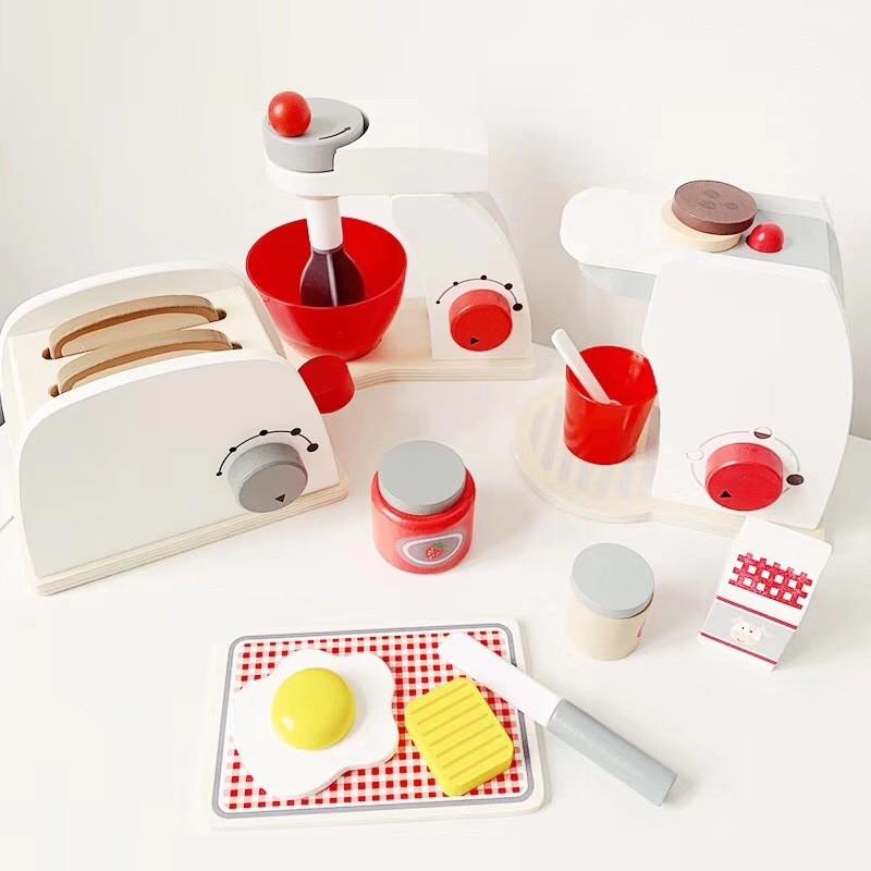 พร้อมส่ง ชุดเครื่องปิ้งขนมปังสีขาว ของเล่นเด็ก ชุดเครื่องทำกาแฟสีขาว ชุดเครื่องตีแป้งสีขาว เครื่องทำวาฟเฟิลสีขาว Ho8a