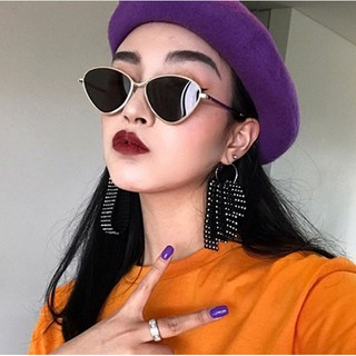 Review 【แว่นตากันแดด】2018 Korean Ulzzang Harajuku Style Women Vintage Cat Eye Metal Frame Sunglasses