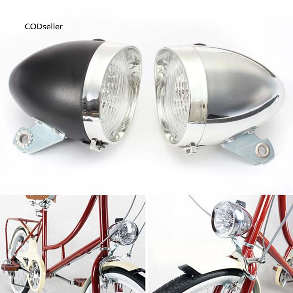 Retro 3 LED Bike Bicycle Cycling Metal Font Head Flash Light Lamp 2 Modes AAA