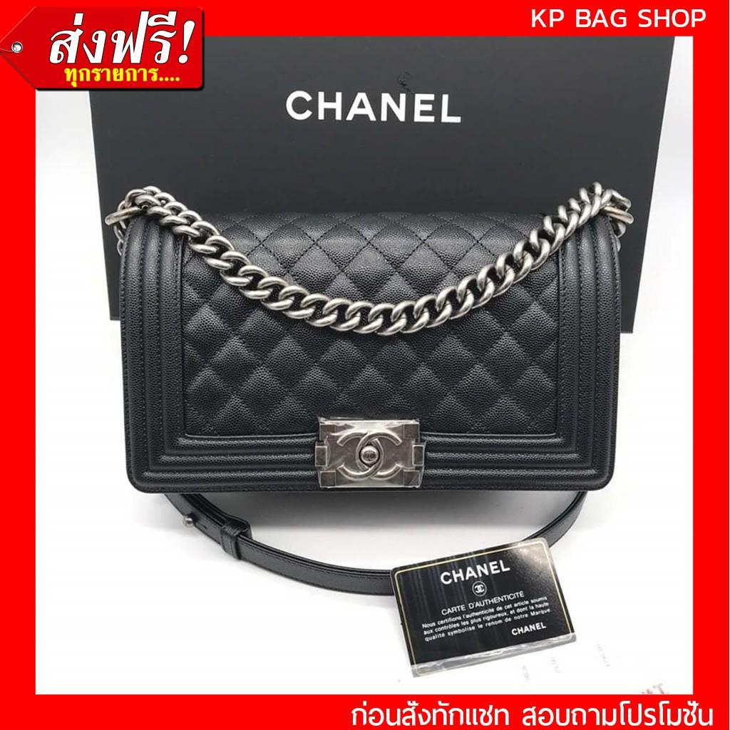 [การันตี งานเปะมาก] Chanel Boy 10 Caviar SHW Original Grade Full Set Option หนังแท้ 100%