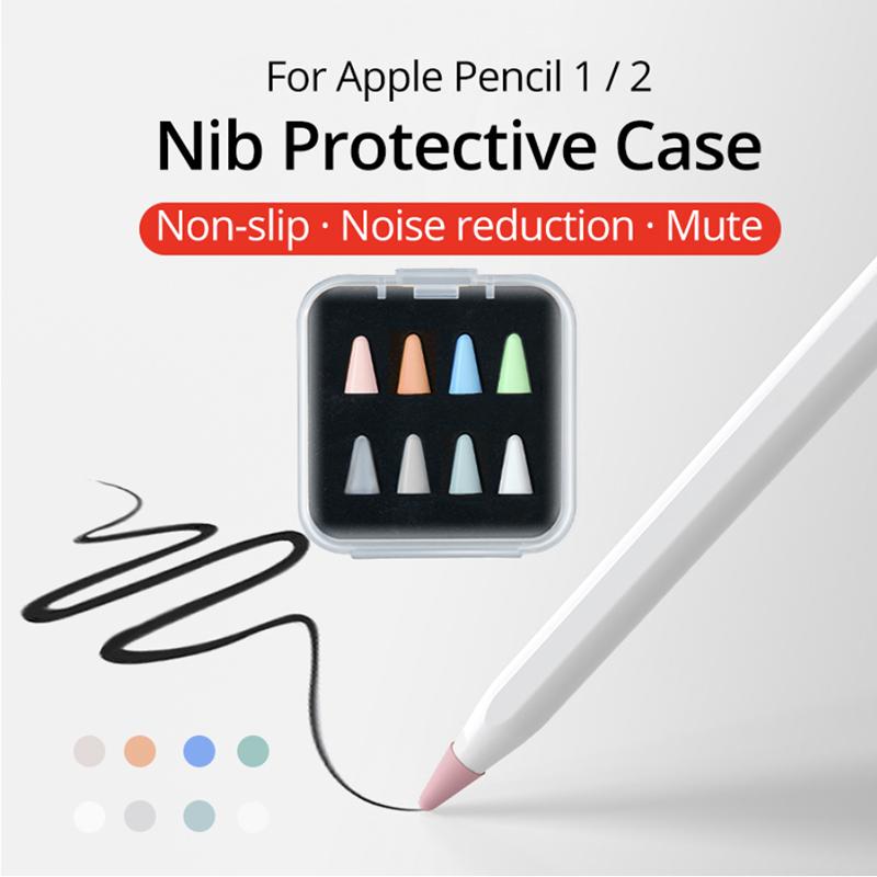 เคส 8 ชิ้นสำหรับ Apple Pencil 1 2st Pen Point Stylus แทบเล็ต Silicone Protector Waterproof ปากกาเขียนหน้าจอ Portable ปากกาทัชสกรีน Stylus Pen