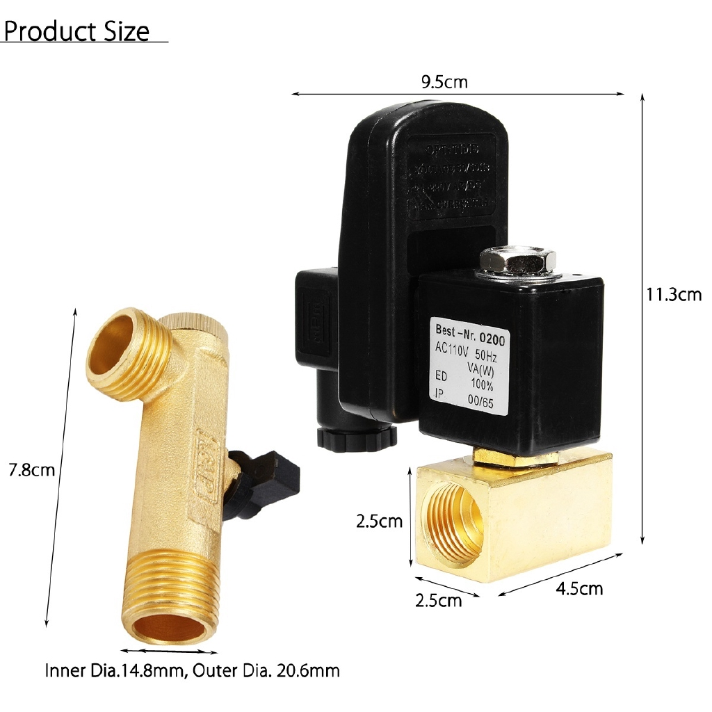 """1//2/"""" Automatic Electronic Timed Air Compressed Gas Tank Drain Valve 220V 12V 24V"""
