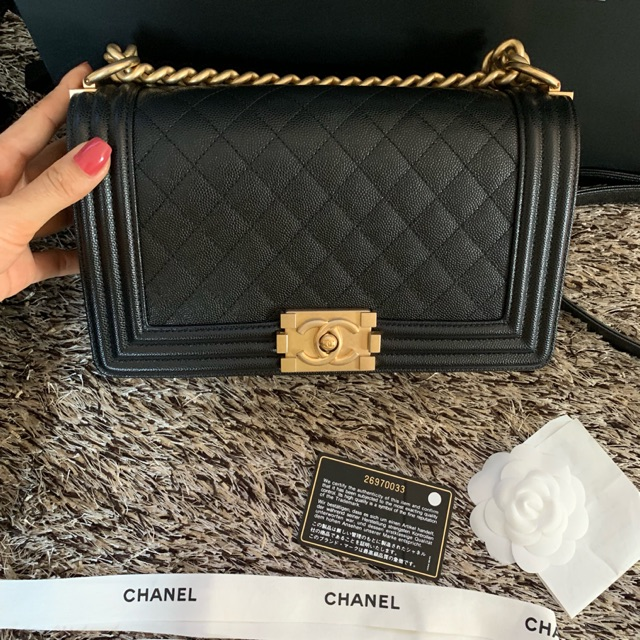 💖 Super Like New Chanel Boy10 Caviar ghw hologram 26 💖