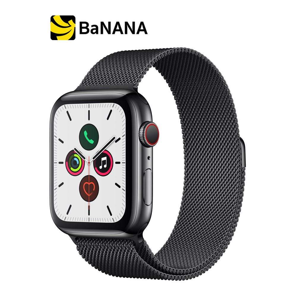 Apple Watch Series 5 GPS + Cellular 44mm Space Black Stainless Steel Case with Space Black Milanese Loop by Banana IT