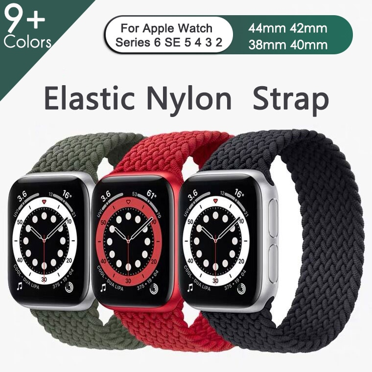 Elastic Nylon Braided Solo Loop Strap For Apple Watch Band 6 SE 5 3 bands 44mm 40mm belt Strap Bracelet iWatch Series 6