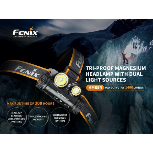 ไฟฉายคาดหัว Fenix hm65r  1400lms ชาร์จในตัว ฟรีแบต