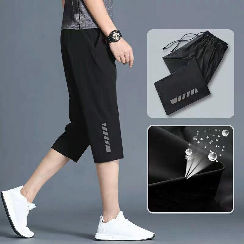 กางเกงขาสั้นผู้ชาย แบบ7ส่วน เอวยางยืด กางเกงออกกําลังกาย กางเกงวิ่งB001