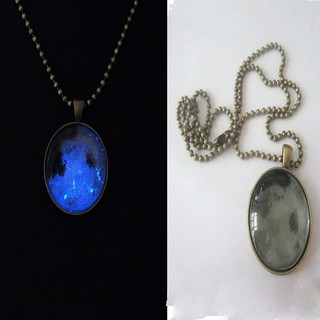 Fashion Green/&Blue Creative Luminous Crystal Ball Chic Glow In The Dark Necklace