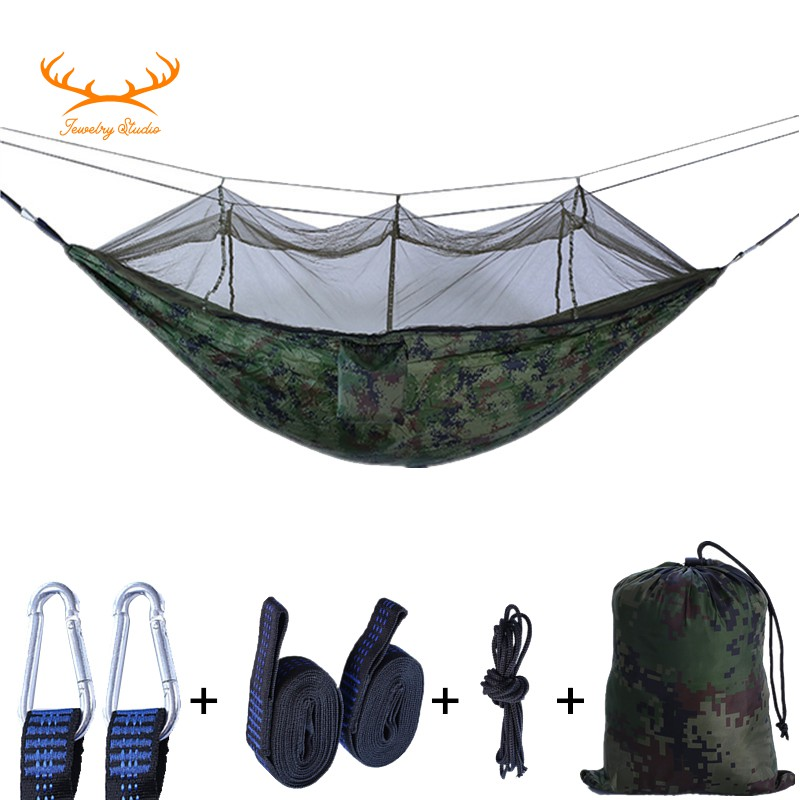 Two Person Double Hammock w// Mosquito Net Lightweight Camping Bed Hanging Swing