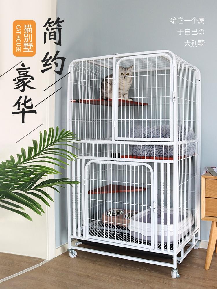 กรงแมววิลล่าบ้านบ้านแมวขนาดใหญ่自由空间ที่มีห้องน้ำแมวกรงแมวบ้านไม้ขนาดใหญ่แพลตฟอร์มแมวกรง