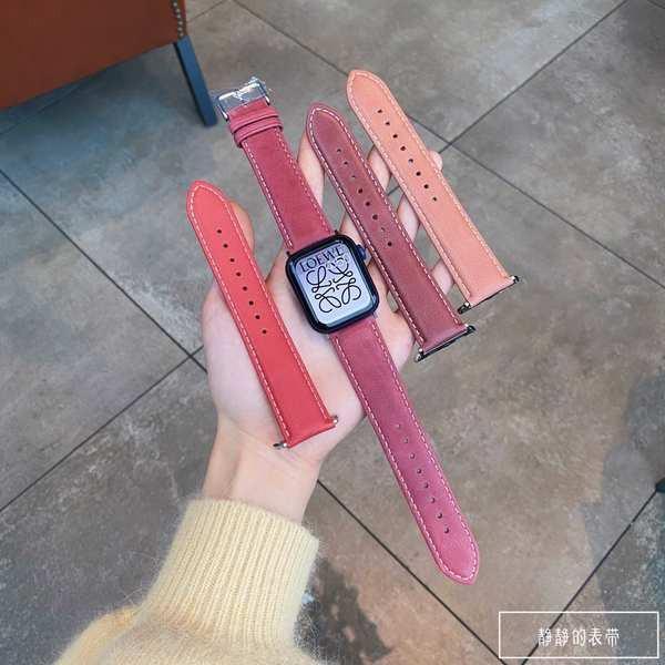 สาย applewatch 纯手工 |梅子色系 头层油牛皮复古款表带适用于applewatch1~6代SE