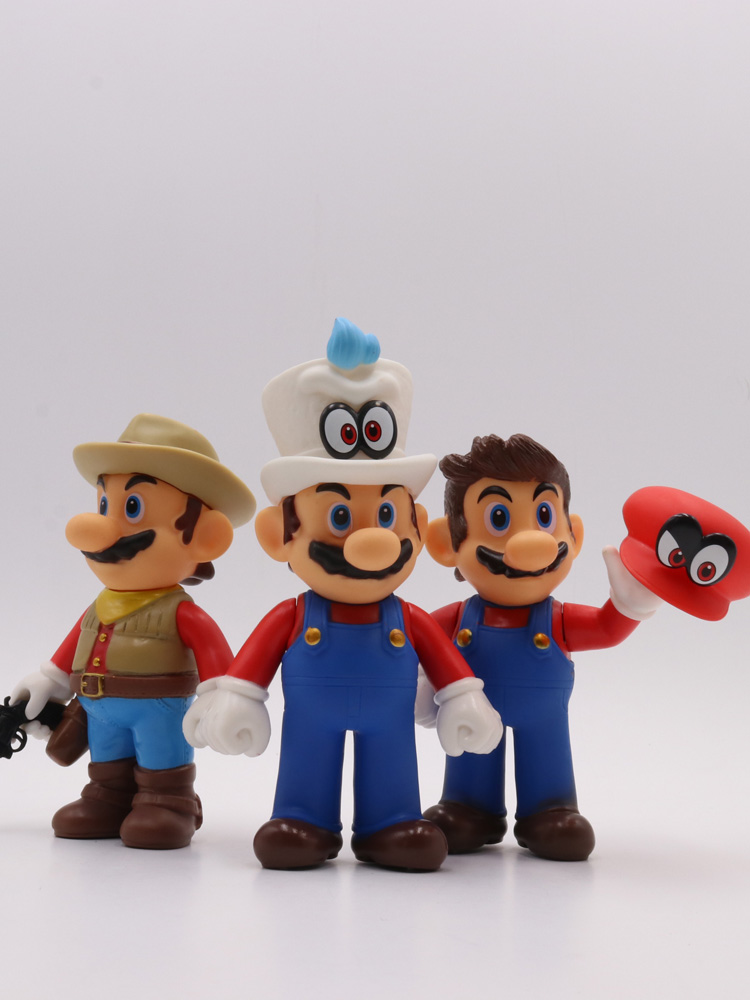 ฟิกเกอร์การ์ตูนอนิเมะนำเข้าNew Super MariomarioGarage Kit Model Doll Odyssey Mario Cowboy Figure Doll Toy Decoration