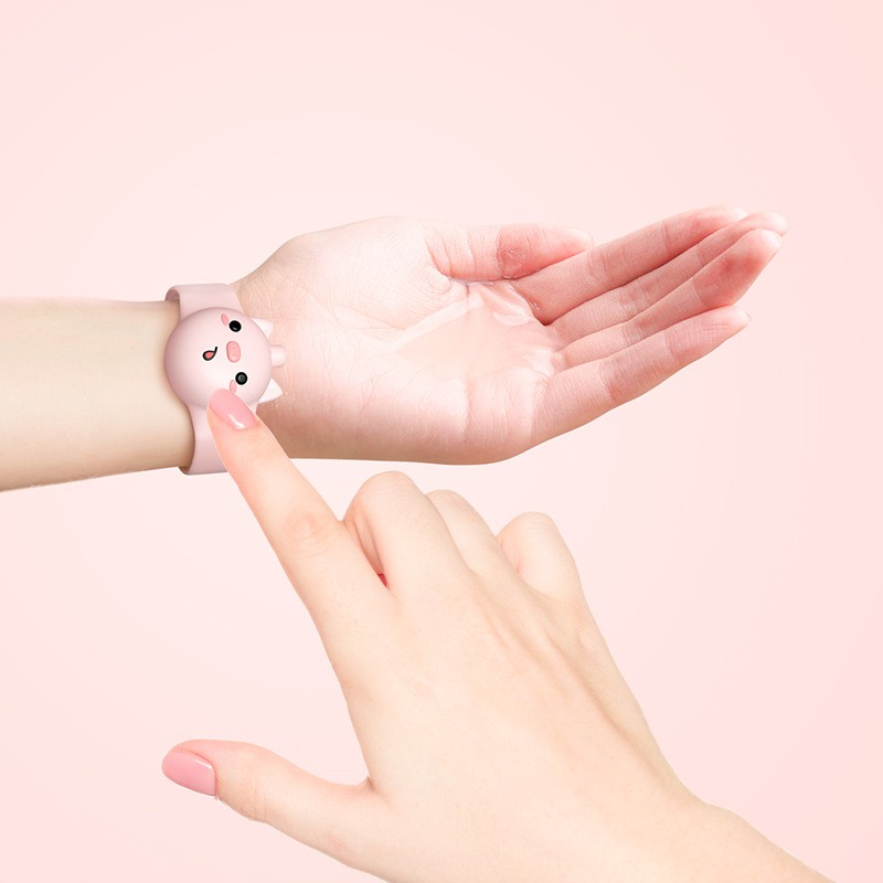 สายรัดข้อมือใส่เจลล้างมือเด็ก 2 ชิ้น สร้อยข้อมือเจลล้างมือลายการ์ตูนสำหรับเด็ก พกพาสะดวก ซิลิโคนน้ำหนักเบา silicone