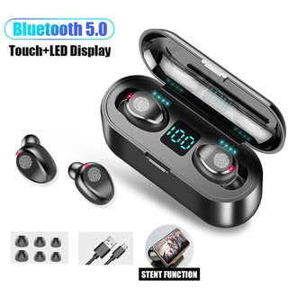 【ตามเรามา฿ 10】F9 TWS Bluetooth 5.0 Wireless Earphones Headphone Touch Control Earphones Stereo Sport Headset LED Display