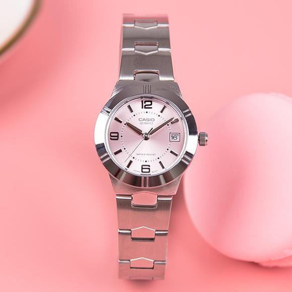 นาฬิกา Casio รุ่น LTP-1241D-4A นาฬิกาข้อมือผู้หญิง สายสแตนเลส หน้าปัดชมพูสุดหวาน (สินค้าขายดี) -แท้ 100% ประกัน CMG 1 ปี