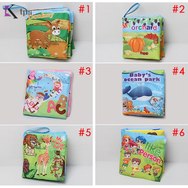 Baby Early Learning Educational Cloth Book Colorful Animals Read Books Soft Rattle Toys