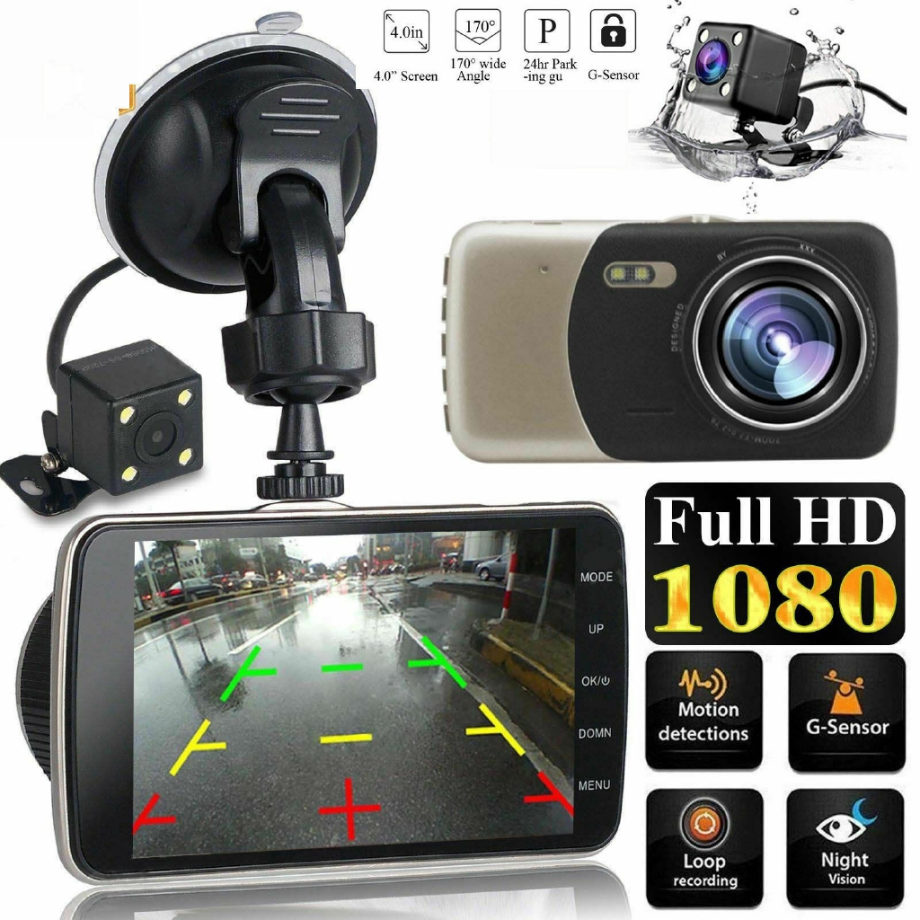 4 inch 1080P Dual Lens Camera Car DVR Video Dash Cam Recorder G-Sensor MS