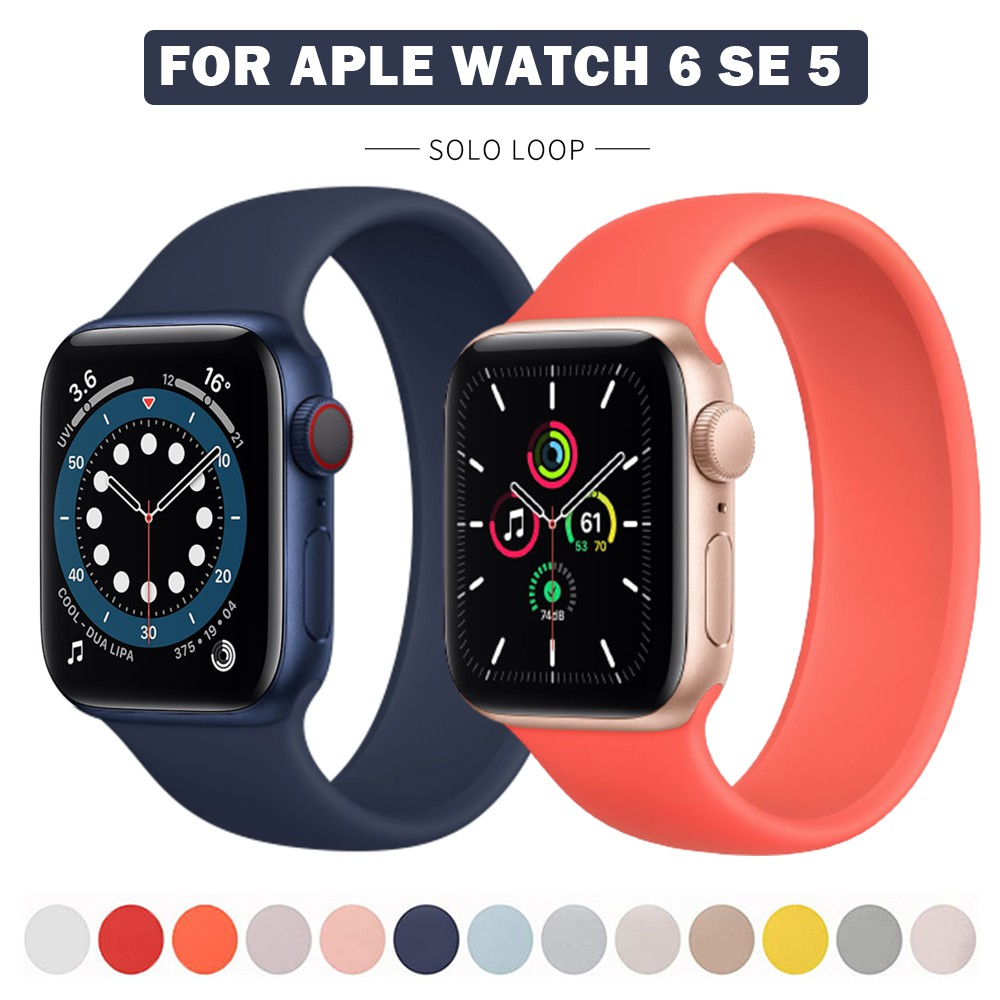 Sport Loop Band For Apple Watch Series 6 SE 44mm 40mm Silicone Strap For Apple Watch 6 5 4 3 44mm 40mm 42mm 38mm Solo Lo