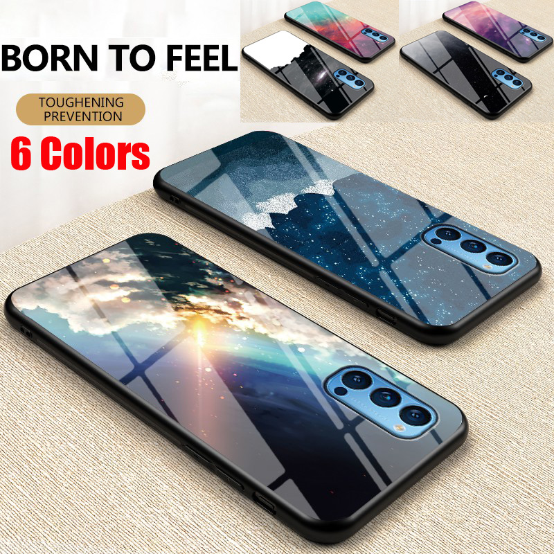 Glass Case Samsung A01,A2 core,A6,A6 plus,A6s,A7 2018/A750,A8 2018/A5 2018,A8S/A9 pro Back Cover Dazzle Colour Glossy Starry Tempered Glass Protection Phone Case