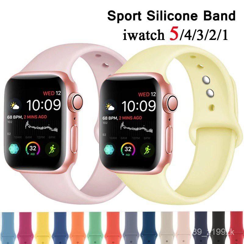 สายซิลิโคนสำรองเปลี่ยน สาย สําหรับ Apple Watch Series 1/2/3/4/5/6 สาย สําหรับApplewatch iWatch สาย 38mm 40mm 42mm 44mm M