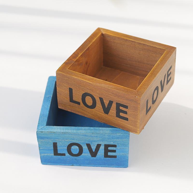 【ของตกแต่งบ้าน】Zakka กระถางไม้อวบน้ำไม้เล็กกล่องไม้เล็กกล่องเก็บของเล็ก ๆ น้อย ๆ กล่องไม้อวบน้ำ