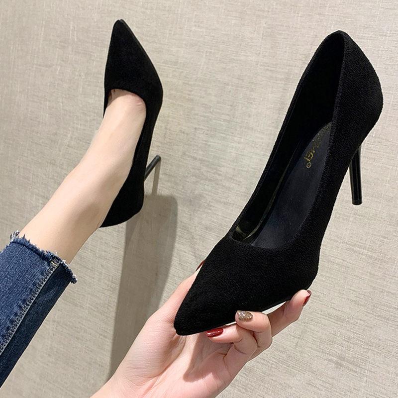 💕♥️รองเท้าส้นสูง💕♥️ รองเท้าส้นสูงหัวแหลม รองเท้าส้นสูงผู้หญิง รองเท้าคัชชูสีดำ รองเท้าคัชชูแฟชั่นไม่กัดเท้า รองเท้า