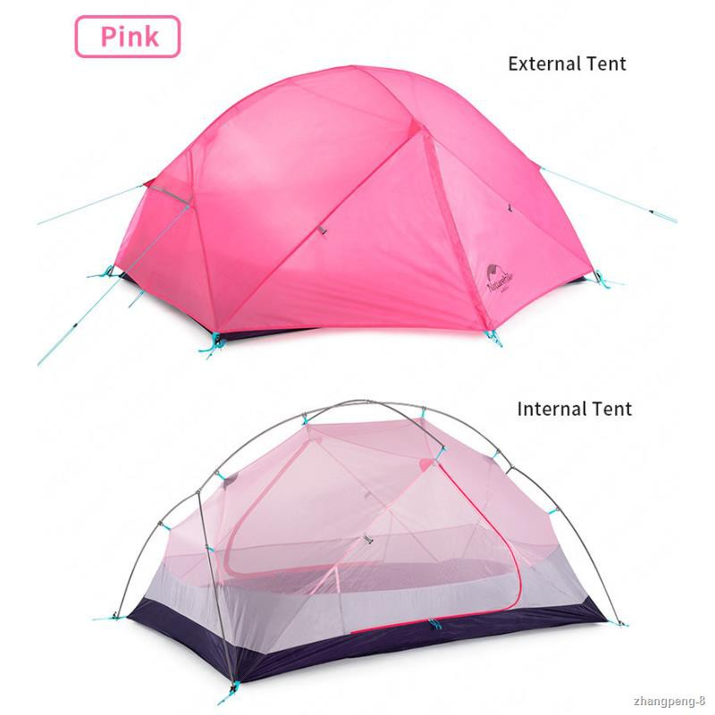 ✜NatureHike Mongar Camping Tent 2Persons Ultralight 210T Polyester Plain Aluminum Alloy Pole Double Layer Outdoor Hiking