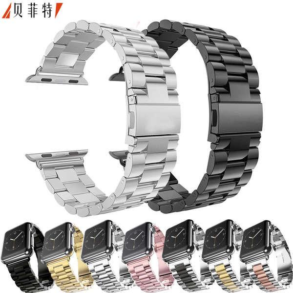 สาย applewatch เหมาะสำหรับสายนาฬิกา Apple Watch applewatch สายโซ่แบบง่ายโซ่รุ่นที่ 5 สแตนเลสโลหะสามเม็ด iwatch สายธุรกิจ
